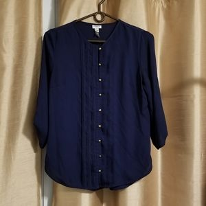 Navy workwear blouse w gold buttons
